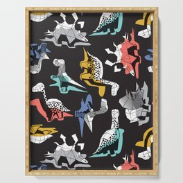 Geometric Dinos // non directional design black background multicoloured dinosaurs shadows Serving Tray