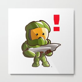 Halo Master Chief Kawaii Metal Print