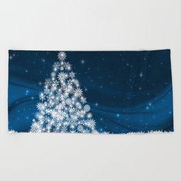 Blue Christmas Eve Snowflakes Winter Holiday Beach Towel