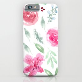 Watercolor Azeleas and Roses iPhone Case
