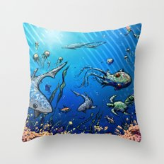 Unda da Sea Throw Pillow