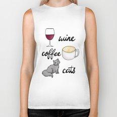Wine Coffee Cats Biker Tank