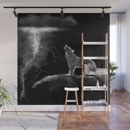 Wolf Lightening Black and White Wall Mural