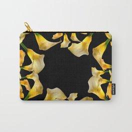 Golden Calla Lilies Black Garden Art Carry-All Pouch