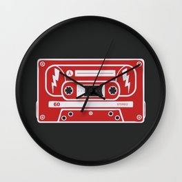 Retro Style Music Cassette in Red Wall Clock