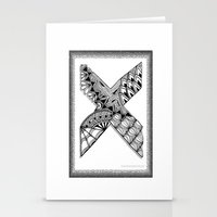 xmen Stationery Cards featuring Zentangle X Monogram Alphabet Illustration by Vermont Greetings
