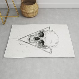 Skull in a triangle (bw) Rug