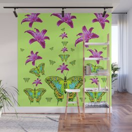 LIME COLOR PURPLE LILIES GREEN MOTHS Wall Mural
