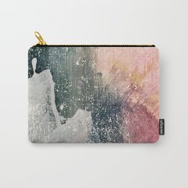 Reckless [6]: a colorful, abstract mixed-media piece in pinks, blues, white and gold Carry-All Pouch