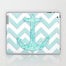 Sail with Me   Glitter nautical anchor, teal blue chevron pattern Laptop & iPad Skin