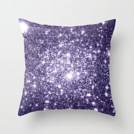 Dark Grape Purple Sparkle Stars Throw Pillow