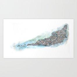 watercolor and pen herd Art Print