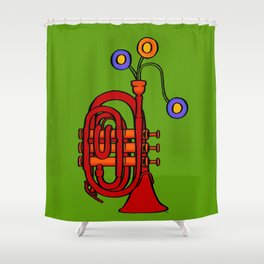 Happy to see my pocket trumpet Shower Curtain