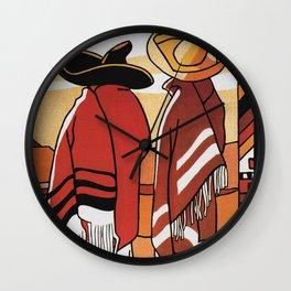 Mexico Travel - Men in Sombrero and Poncho Wall Clock