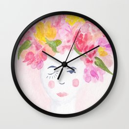 Blooming Betty Watercolor Painting Wall Clock