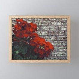 Red bricks red flowers Framed Mini Art Print