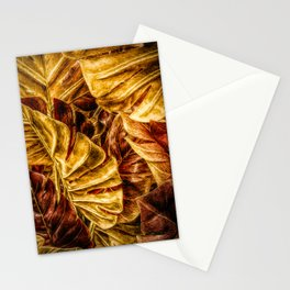 Painted Autumn Monstera palm leaves by Brian Vegas Stationery Cards