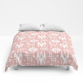 Mid Century Modern Atomic Space Age Pattern Dusty Rose Comforters
