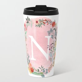 Flower Wreath with Personalized Monogram Initial Letter N on Pink Watercolor Paper Texture Artwork Travel Mug