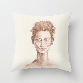 Red Head Smirk Throw Pillow