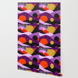 Terrazzo galaxy purple orange gold Wallpaper