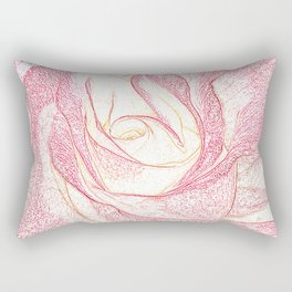 Summer Rose Pencil on White Rectangular Pillow