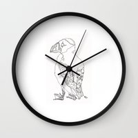 puffin Wall Clocks featuring Puffin by Alice Suttle