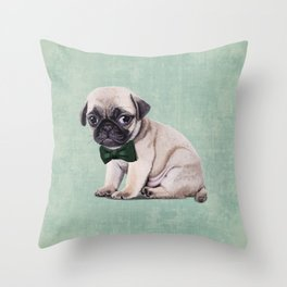 Angry Pug Throw Pillow