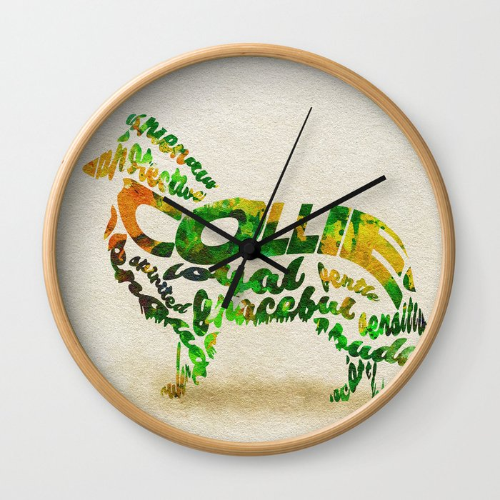 The Rough Collie Dog Typography Art / Watercolor Painting Wall Clock