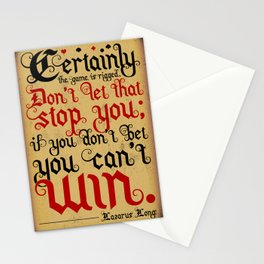 Certainly the game is rigged. Stationery Cards