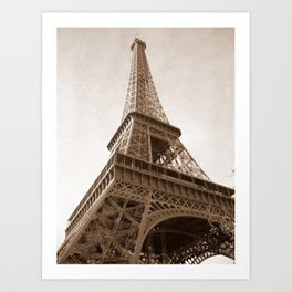 Sepia Eiffel Tower Art Print