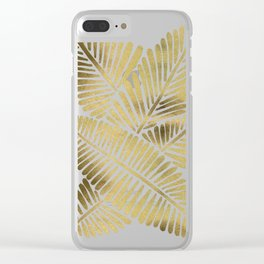 Tropical Banana Leaves – Gold Palette Clear iPhone Case
