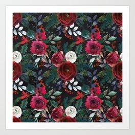 Festive Red Floral Arrangement on Black  Art Print