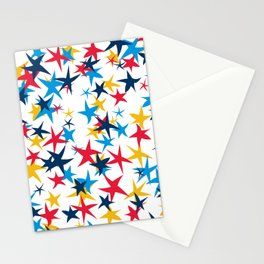 Red white and blue stars with a pop of yellow Stationery Cards