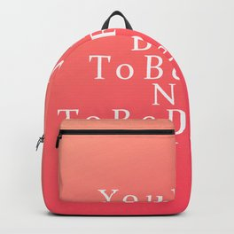 Modern Coral Peach White Inspirational Quote Backpack