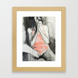 She sat looking up at him with her bright eager eyes Framed Art Print