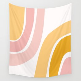 Abstract Shapes 37 in Mustard Yellow and Pale Pink Wall Tapestry