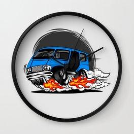 Minivan hotrod style illustration Wall Clock