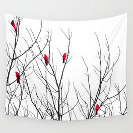 Artistic Bright Red Birds on Tree Branches Wall Tapestry
