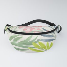 Seamless Pattern Lime Green Ferns Pink Pastel Blossoms Fanny Pack