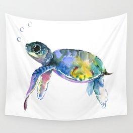 Sea Turtle, children artwork Illustration Wall Tapestry