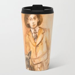 Vintage friendship, a boy and his dog Travel Mug