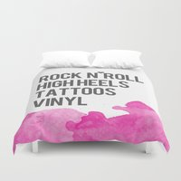 tattoos Duvet Covers featuring Rock n Roll, High Heels, Tattoos and Vinyl  by flourish and hope