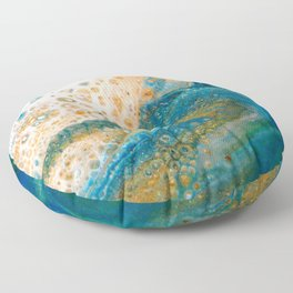Panning for Gold - Abstract Acrylic Art by Fluid Nature Floor Pillow
