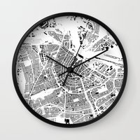 amsterdam Wall Clocks featuring AMSTERDAM by Maps Factory