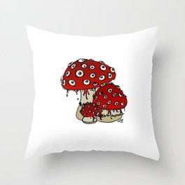 Toad-Eating Mushrooms Throw Pillow