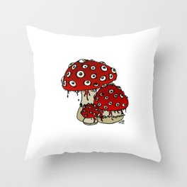Toad-Eating Mushrooms Throw Pillow
