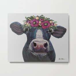 Cow art, Colorful Cow with Flower crown art Metal Print