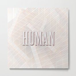 Human Typography Pattern on Weaved Textured Minimal Funny Metal Print