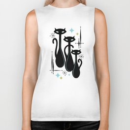 Effervescent Orange Atomic Age Black Kitschy Cat Trio Biker Tank